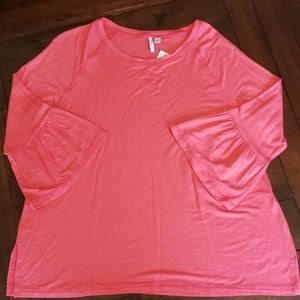 C Active by Cato long sleeve top with ruffle